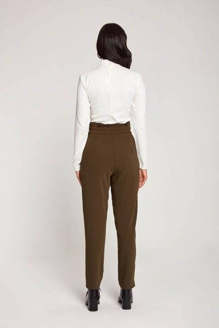 Bird-EyeDetailed Trousers (Khaki) - Thumbnail