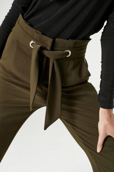 MIZALLE - Bird-EyeDetailed Trousers (Khaki) (1)