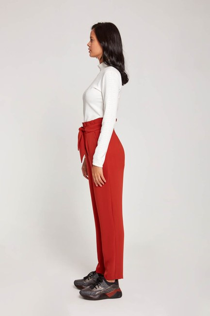Bird-EyeDetailed Trousers (Brick Red) - Thumbnail