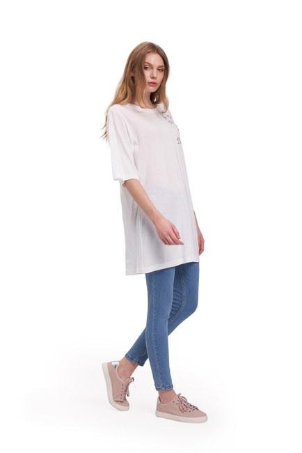 Kuş Nakış T-Shirt (Beyaz) - Thumbnail