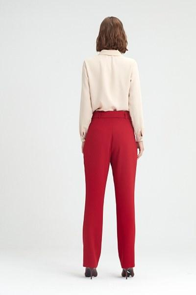 Kuşak Detaylı Pantolon (Bordo) - Thumbnail