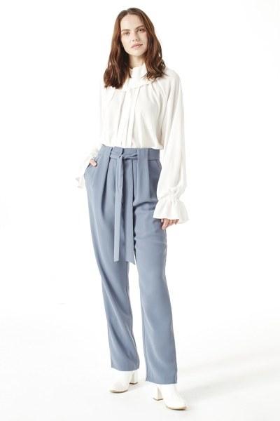 Mizalle - Kuşak Detaylı Pantolon (Indigo) (1)