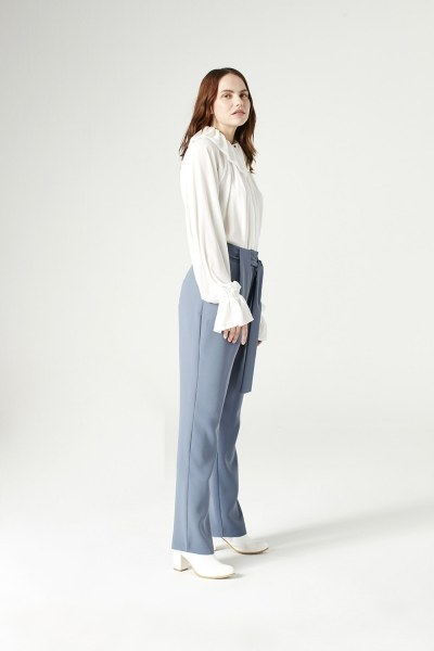 Mizalle - Kuşak Detaylı Pantolon (Indigo)