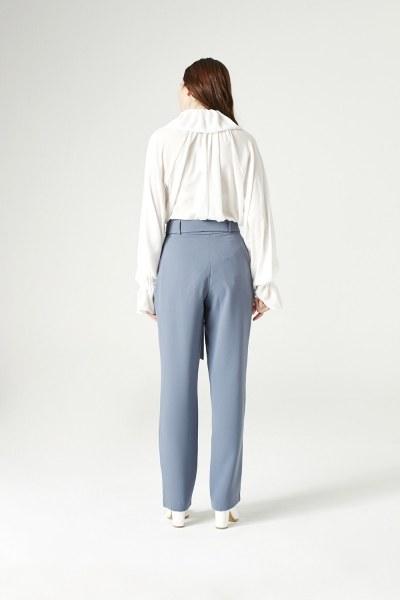 Kuşak Detaylı Pantolon (Indigo) - Thumbnail