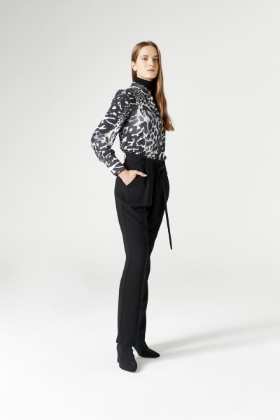 Mizalle - Kuşak Detaylı Pantolon (Siyah)