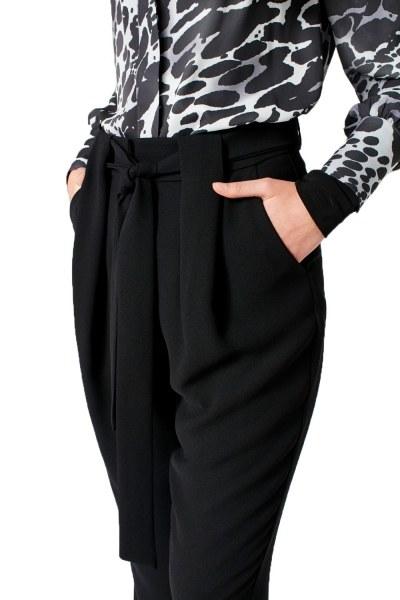 Kuşak Detaylı Pantolon (Siyah) - Thumbnail