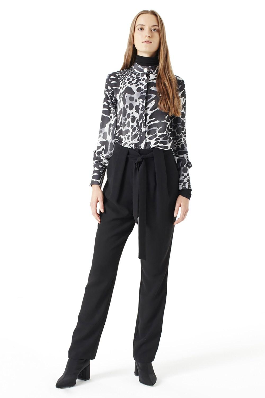 MIZALLE Kuşak Detaylı Pantolon (Siyah) (1)