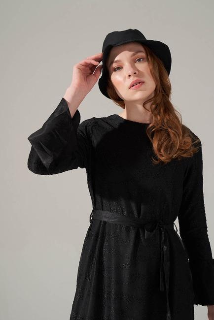 Kuşaklı Siyah Elbise - Thumbnail
