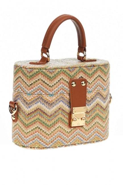 MIZALLE - سترو حقيبة يد في شكل مربع مع أنماط (البيج) (1)