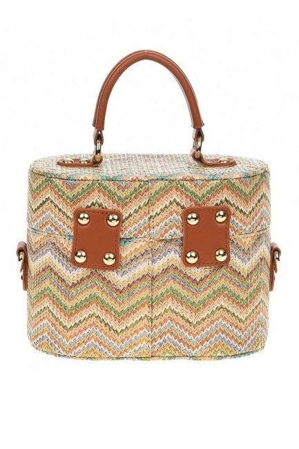 سترو حقيبة يد في شكل مربع مع أنماط (البيج) - Thumbnail