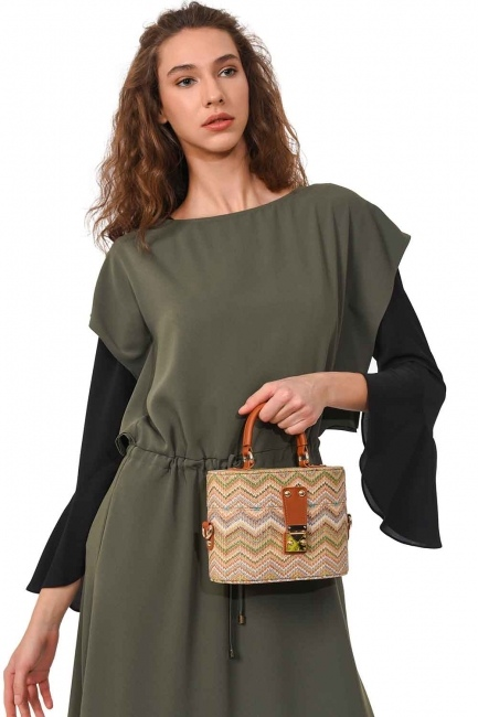 Box Type Patterned Wicker Handbag (Beige) - Thumbnail
