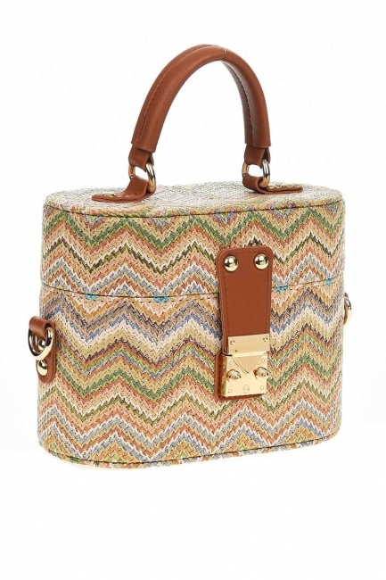 MIZALLE - Box Type Patterned Wicker Handbag (Beige) (1)