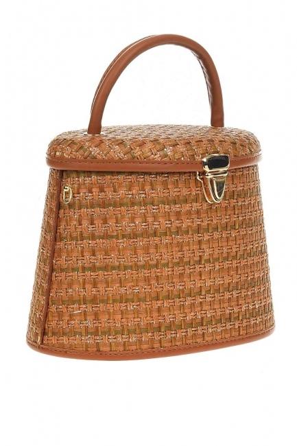MIZALLE - Box Type Wicker Hand Bag (Beige) (1)