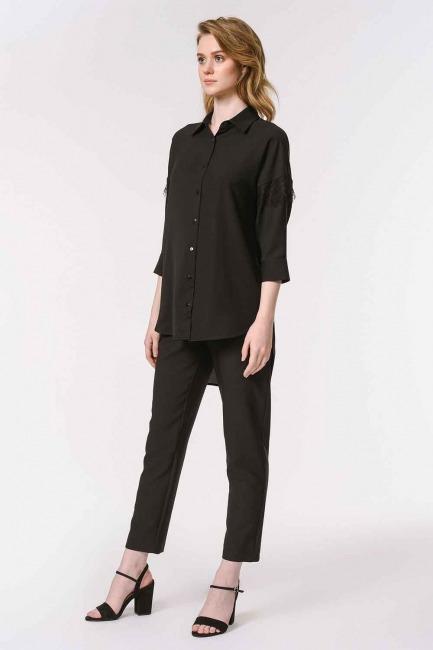 قميص بلوزة مفصلة بالدانتيل (أسود) - Thumbnail