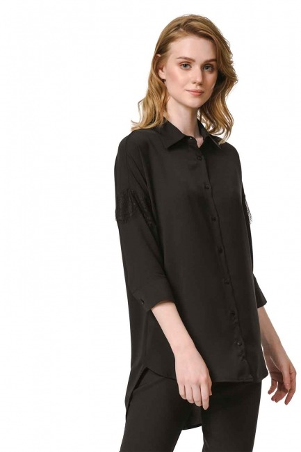 MIZALLE Lace Detailed Shirt Blouse (Black)