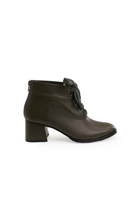Mizalle - Lace-Up Boots (Khaki) (1)