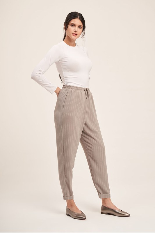 Lace-Up Striped Trousers (Grey)