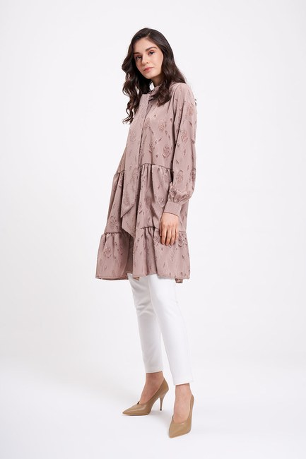 MIZALLE - Lace-Up Tunic (Beige) (1)