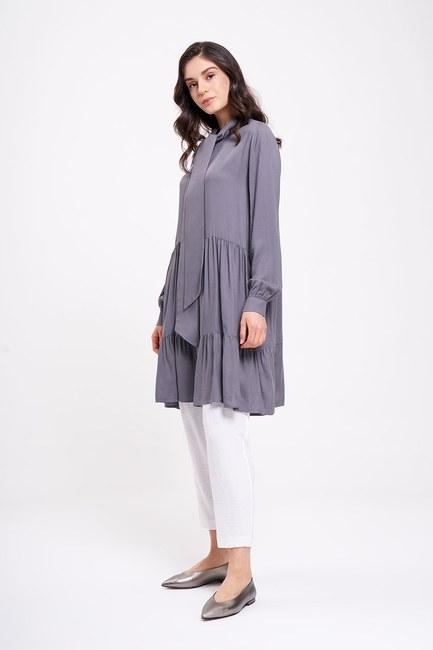 MIZALLE - Lace-Up Tunic (Grey) (1)
