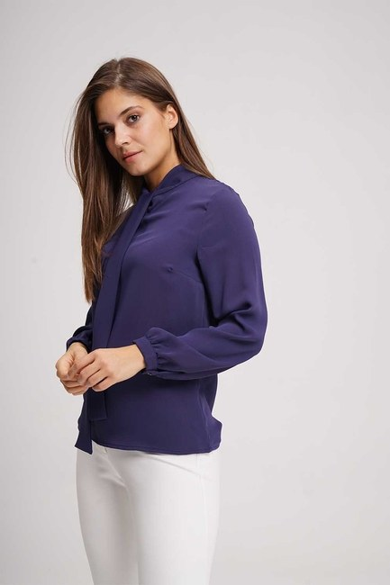 Halter-Neck Blouse (Navy Blue) - Thumbnail