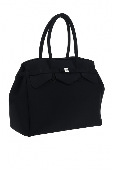 Mizalle - Large Fabric Shoulder Bag (Black) (1)