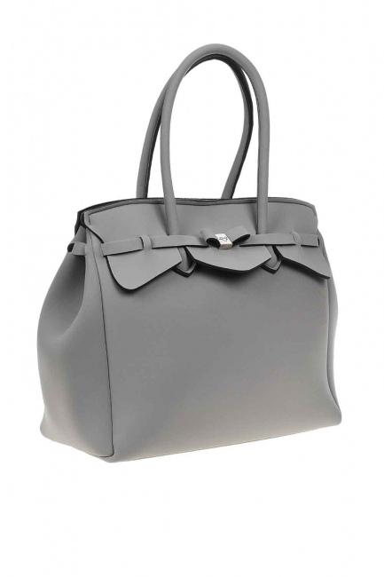 MIZALLE - حقيبة كتف سكوبا قماش كبيرة (رَمَادِيّ) (1)