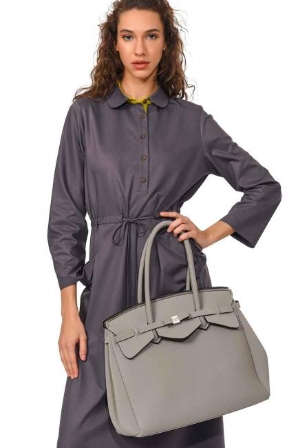 MIZALLE Large Fabric Shoulder Bag (Grey)