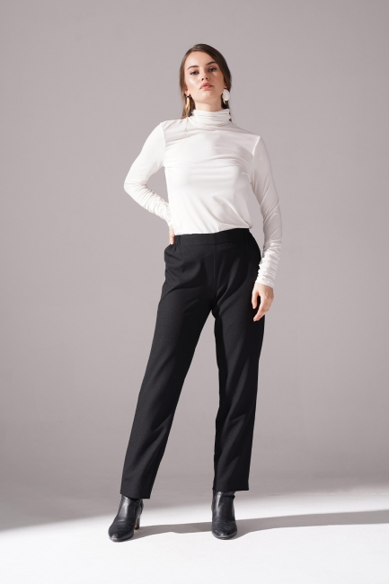 Mizalle - Lastikli Krep Pantolon (Siyah)