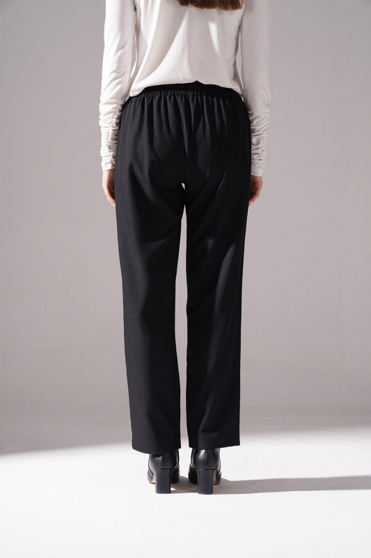 Lastikli Krep Pantolon (Siyah)