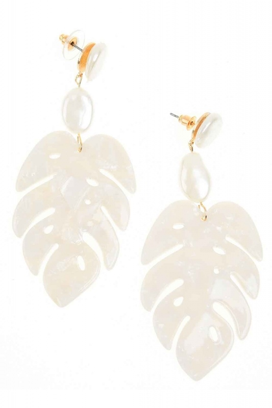 Leaf Detailed Dangling Earrings (St)