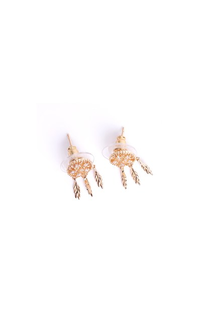 MIZALLE - Leaf Detailed Small Earrings (Yellow) (1)