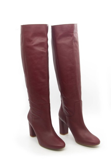 MIZALLE - Leather Long Boots (Claret Red) (1)