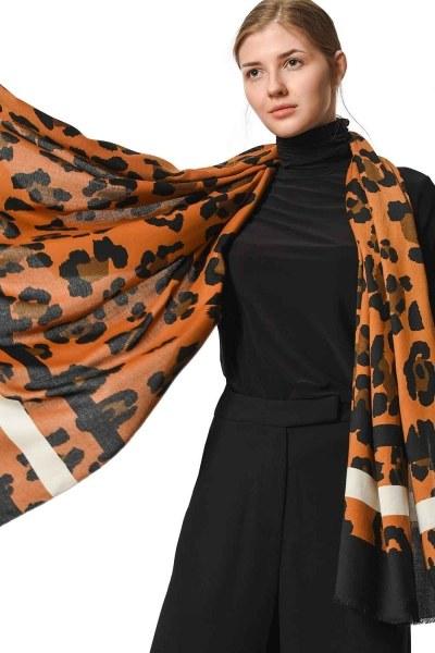 Leopard Patterned Striped Shawl (Mix) - Thumbnail