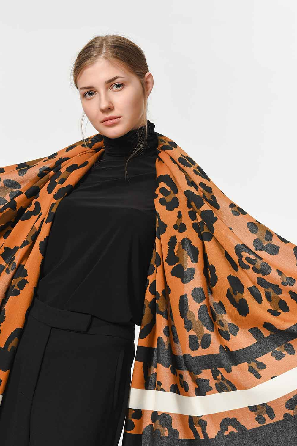 MIZALLE Leopard Patterned Striped Shawl (Mix) (1)