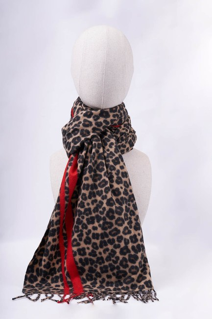 MIZALLE - Leopard Pattern Striped Thick Shawl (Red) (1)
