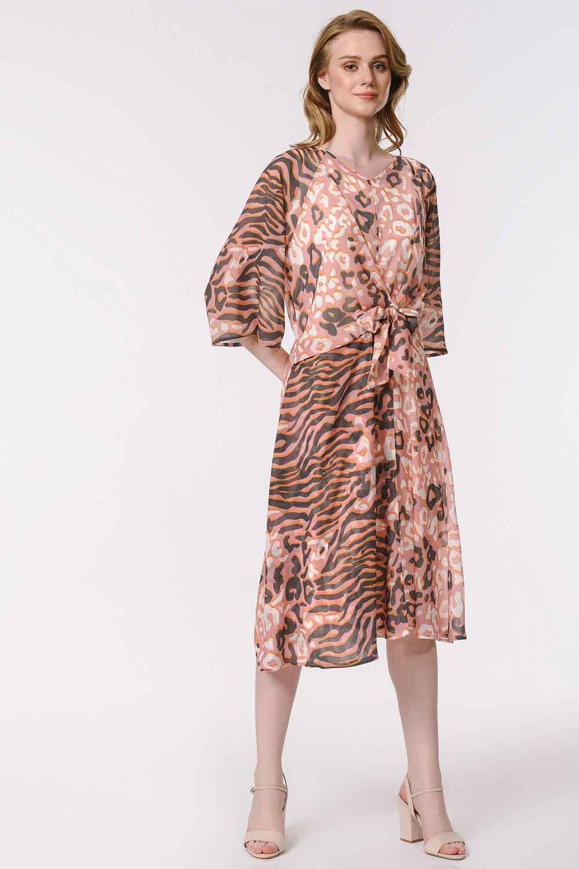 MIZALLE Leopar Desenli Elbise (Pembe) (1)
