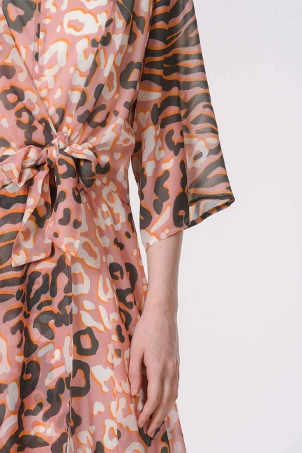 Leopard Patterned Dress (Pink) - Thumbnail