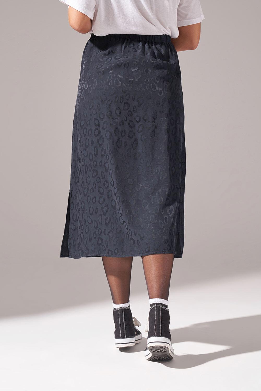 Leopar Desenli Etek (Siyah)