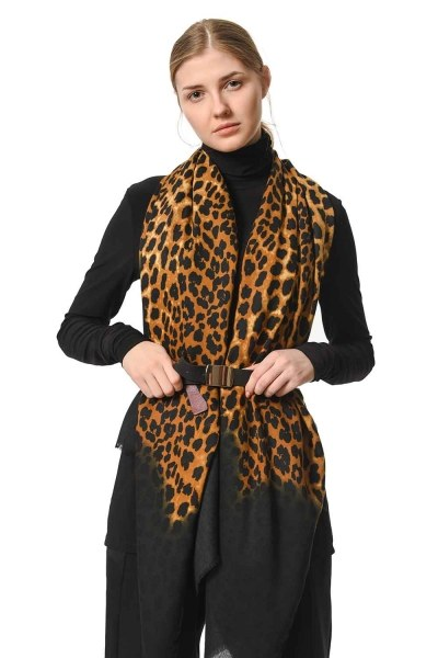 Leopard Patterned Thin Luxury Shawl (Black) - Thumbnail