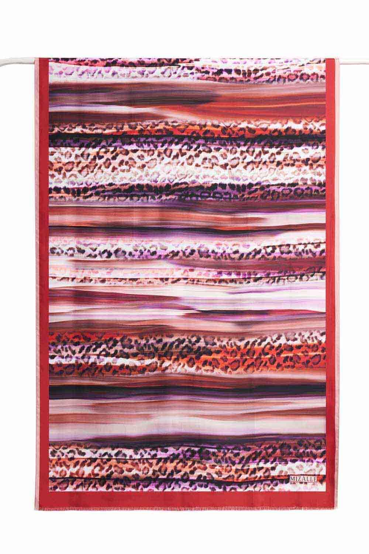 Leopar Desenli İpek Şal (Kırmızı)