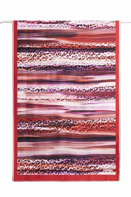Leopar Desenli İpek Şal (Kırmızı) - Thumbnail