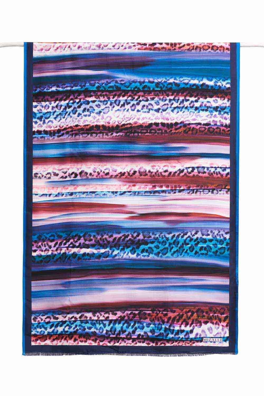 Leopar Desenli İpek Şal (Mavi)