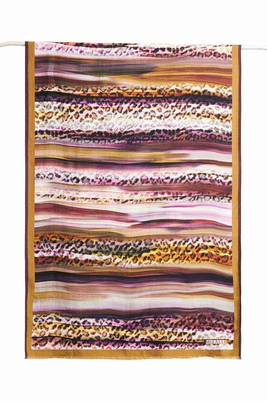 Leopar Desenli İpek Şal (Sarı)