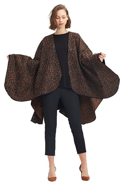 Leopard Patterned Poncho (Brown) - Thumbnail