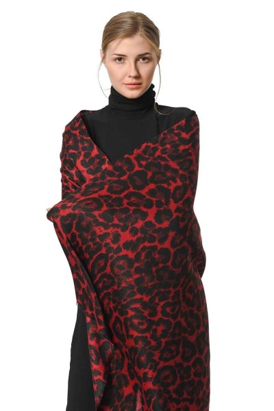 Leopard Patterned Shawl (Claret Red) - Thumbnail