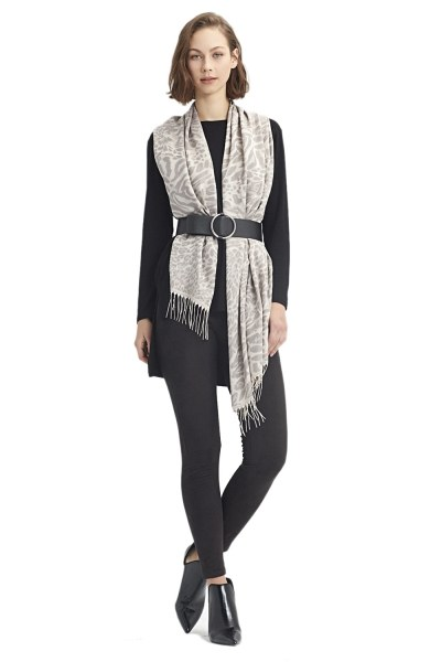 Leopard Patterned Shawl (Grey) - Thumbnail