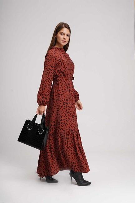 الفهد نمط طويل فستان (كلاريت الأحمر) - Thumbnail