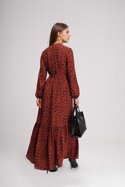 Leopar Desenli Uzun Elbise (Bordo) - Thumbnail