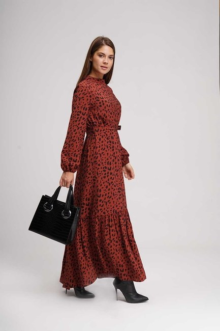 Leopard Pattern Long Dress (Claret Red) - Thumbnail