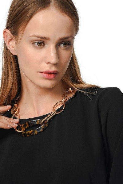MIZALLE Leopard Detailed Necklace With Lock (Yellow)